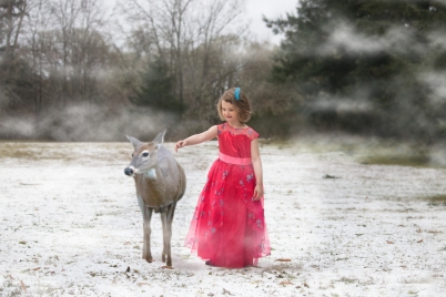 Girl Composite Deer Snow