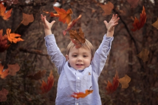 Boy Fall Leaves